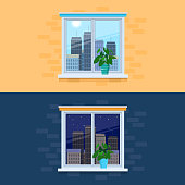 Vector illustration of view from the window to the city day and night. Cityscape outside the window. Day and night concept