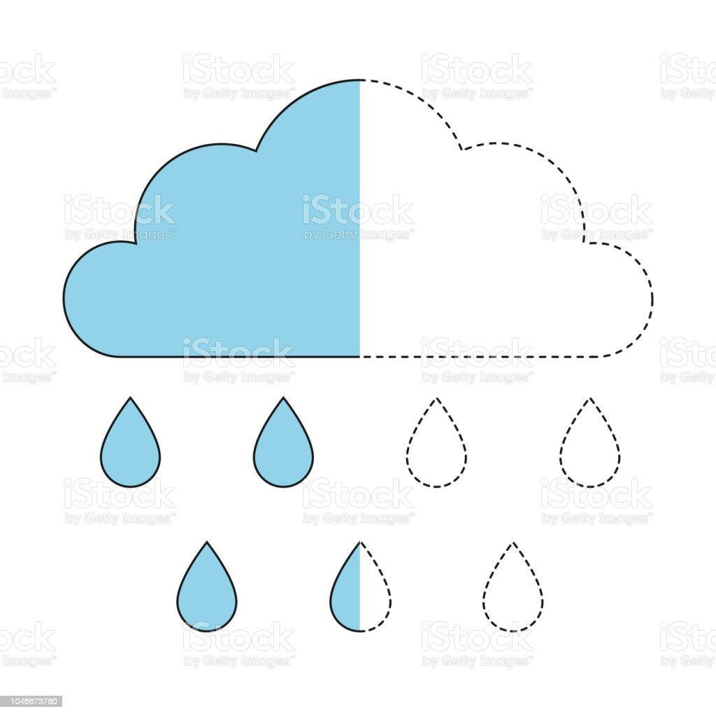 Bulut Ve Yagmur Damlalari Cizimi Kucuk Bebekler Icin Stok Vektor