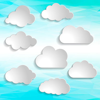 illustration of clouds collection on abstract smooth light blue