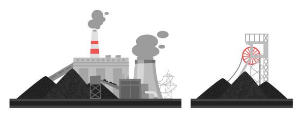 illustration of coal plant. Vector cartoon illustration of coal plant. Environmental pollution concept. power station stock illustrations
