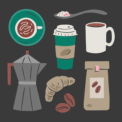 Illustration of coffee shop products and equipment — hand-drawn vector elements