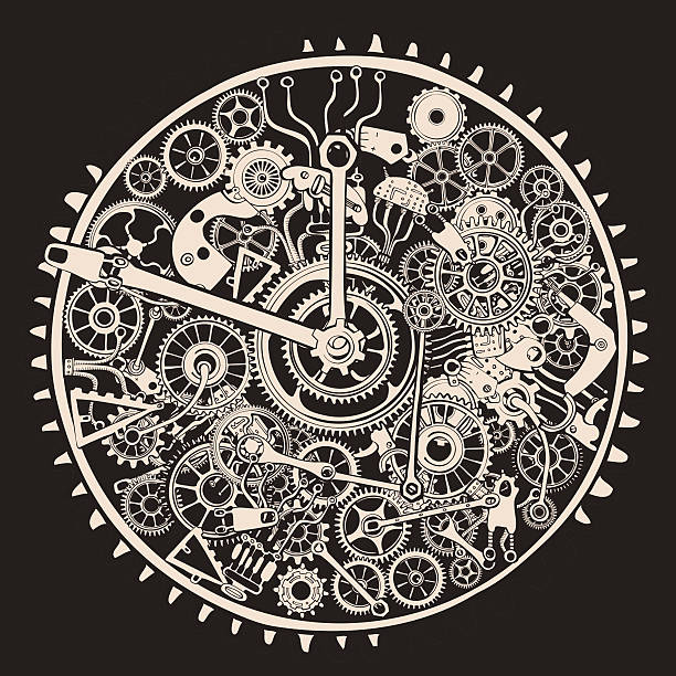 Illustration of cogs and gears of clock vector art illustration