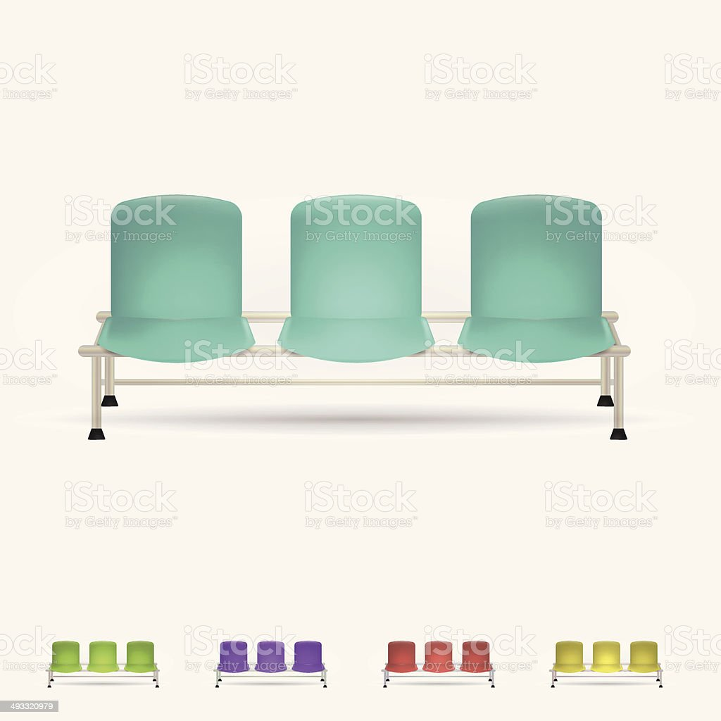 Illustration of colored waiting benches vector art illustration