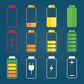 illustration of colorful battery charging symbols