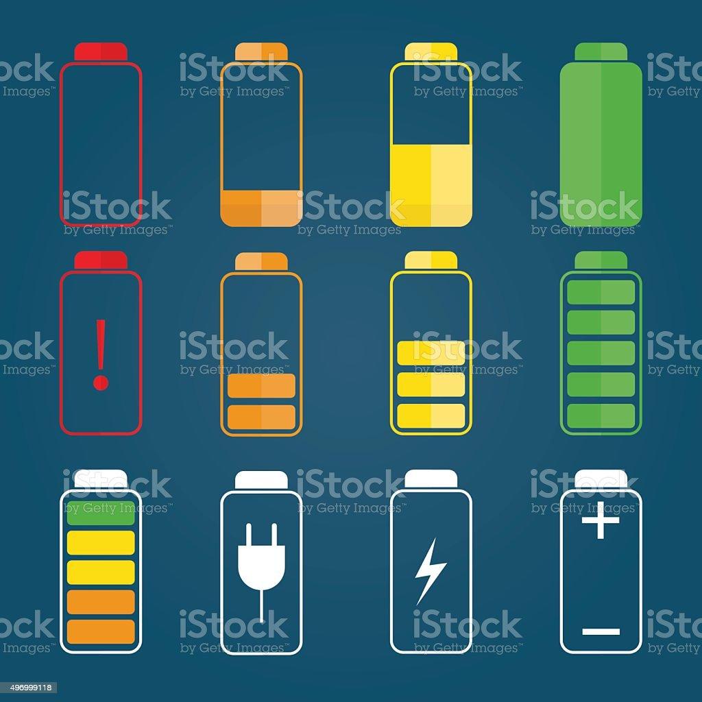 illustration of colorful battery charging symbols vector art illustration
