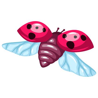 Illustration of colorful beautiful ladybug. Stylized insect.