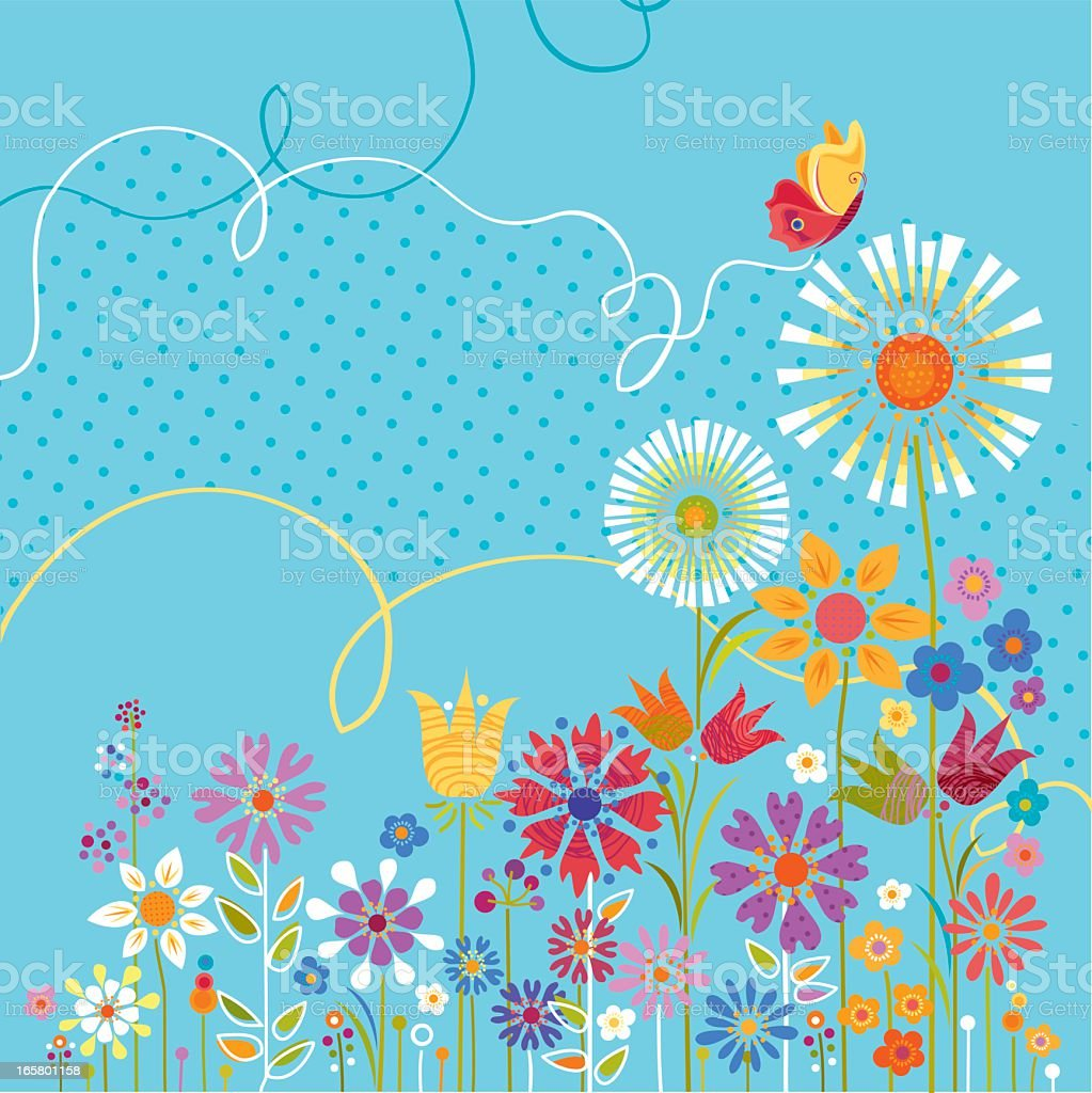 Illustration of colorful flowers with a butterfly vector art illustration