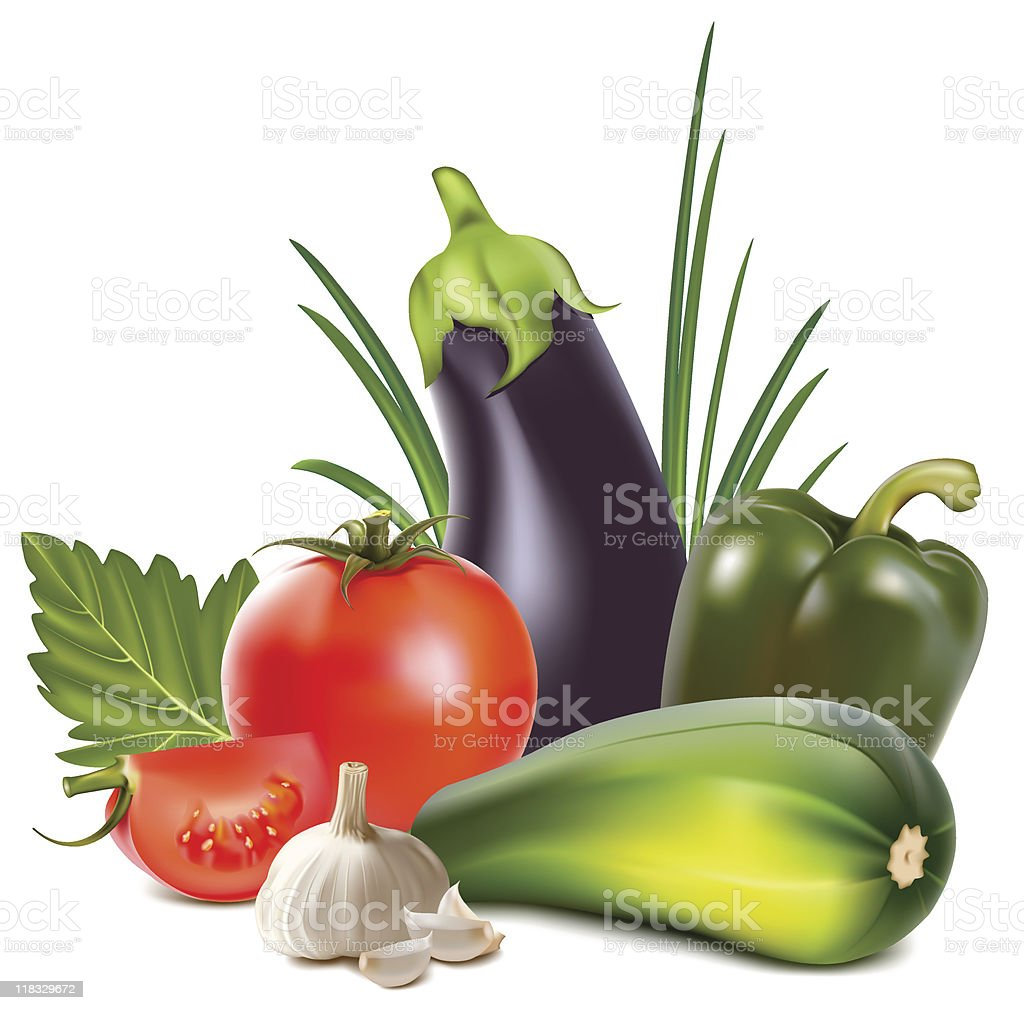 Illustration of colorful fresh group of vegetables royalty-free stock vector art