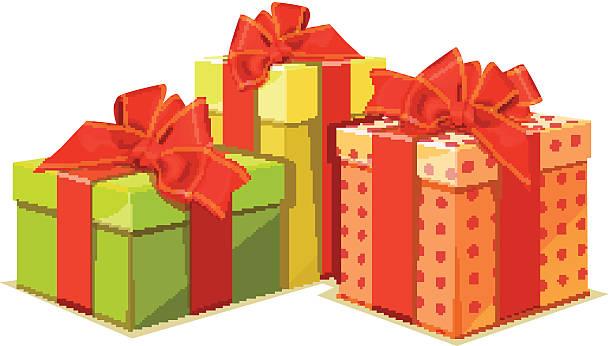 illustration von bunten gift box auf weißem hintergrund - vakuumverpackung stock-grafiken, -clipart, -cartoons und -symbole