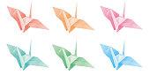 Illustration of colorful origami cranes