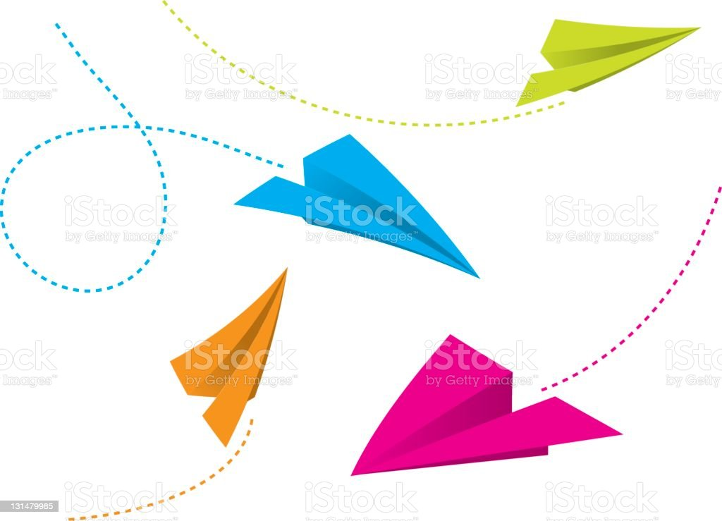 Illustration of colorful paper planes flying vector art illustration
