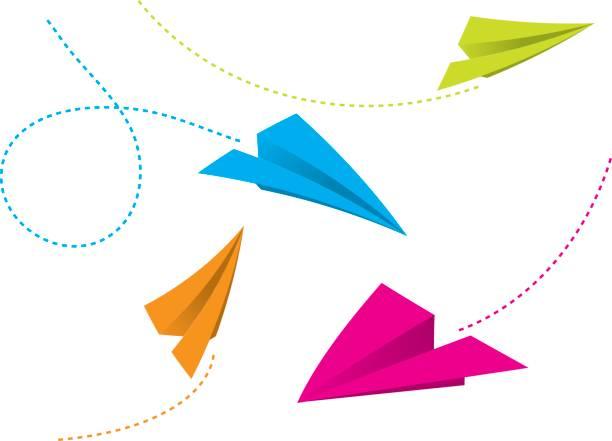 ilustrações de stock, clip art, desenhos animados e ícones de aviões de papel de cor - exhaust white background