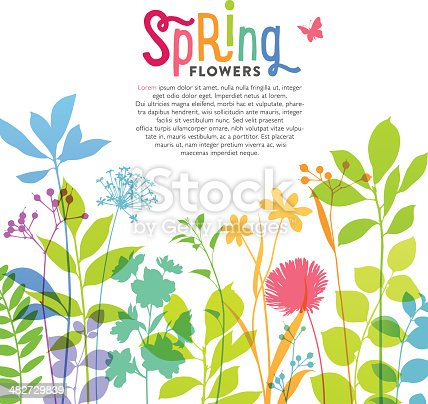 istock Illustration of colorful spring flowers and stems 482729839