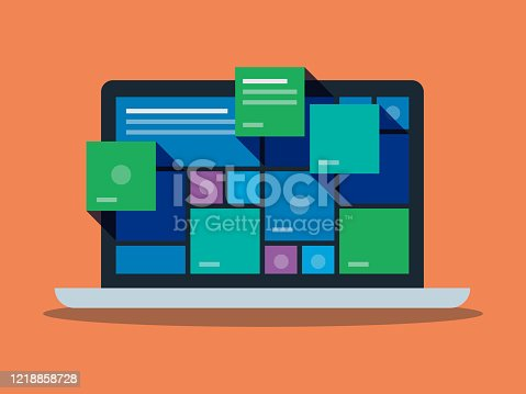 istock Illustration of colorful user interface graphics on laptop computer screen 1218858728