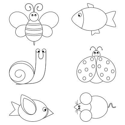 illustration of  coloring book set with animals for small kids