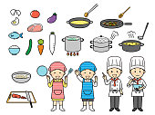 illustration of cooking and kids
