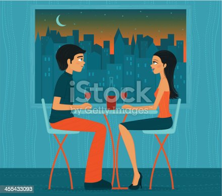 istock Illustration of couple drinking wine in front of city lights 455433093