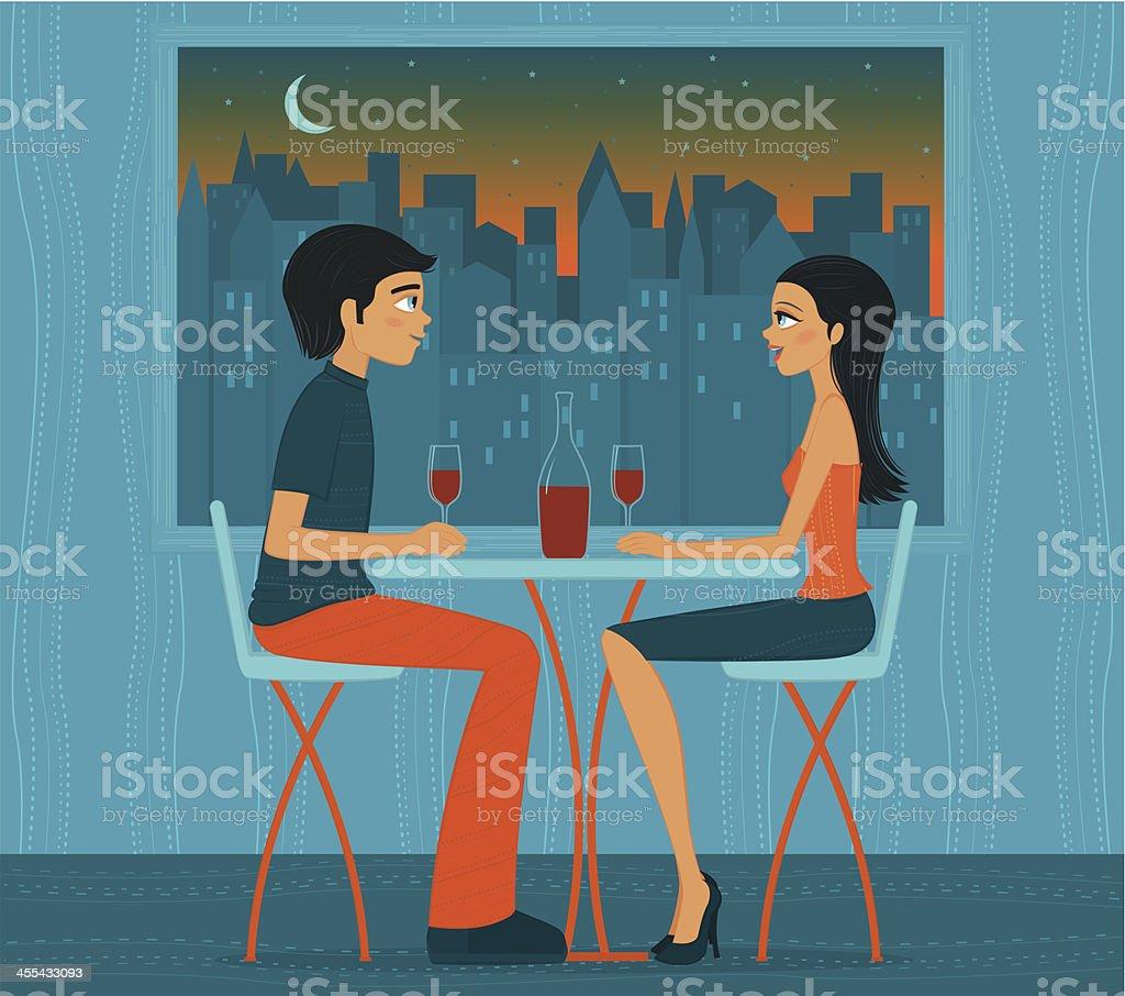 Illustration of couple drinking wine in front of city lights vector art illustration