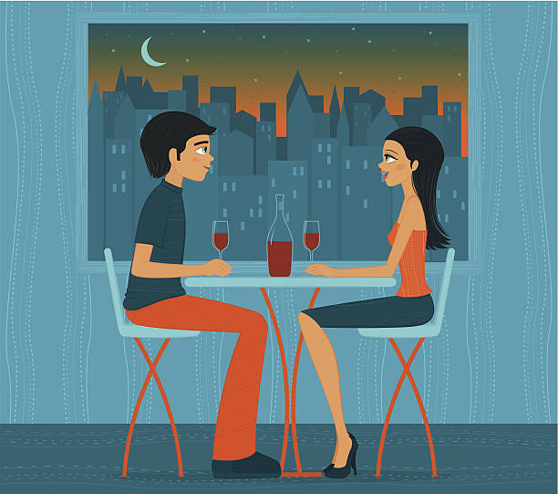 Illustration of couple drinking wine in front of city lights vector art illustration