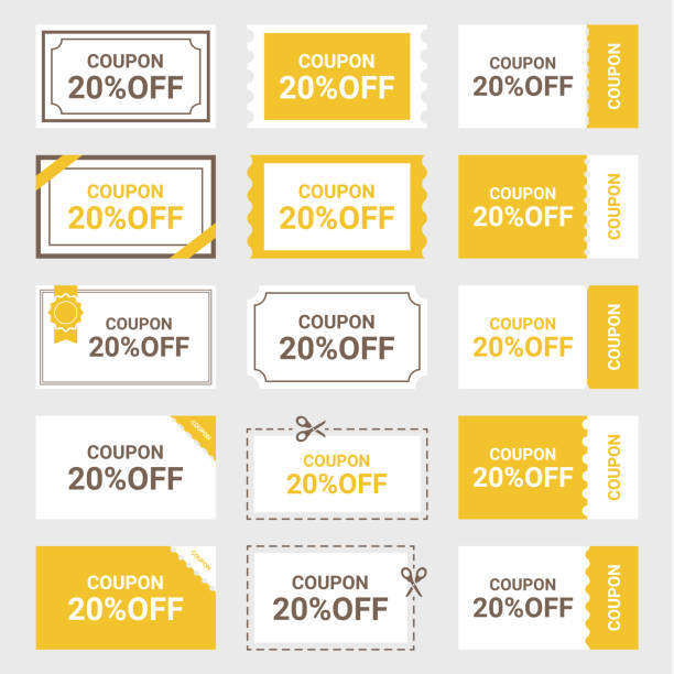 Illustration of coupon Set of coupon illustration. coupon stock illustrations