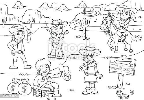 Illustration de cowboy du far west dessin anim de - Dessin saloon ...