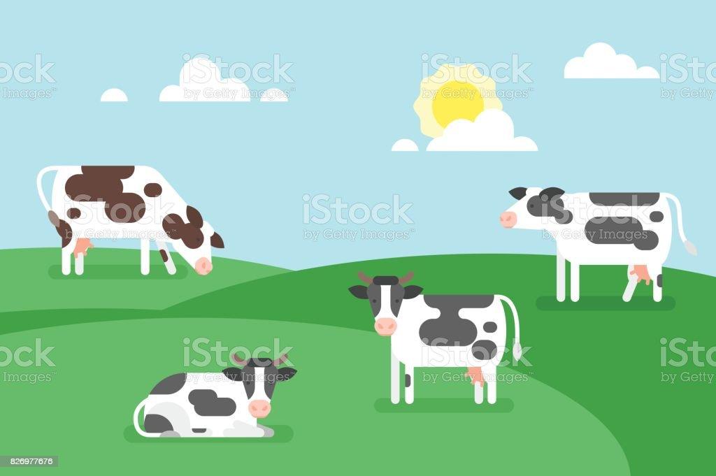 illustration of cows graze in a field. vector art illustration