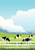 istock Illustration of cows on a farm 466547543