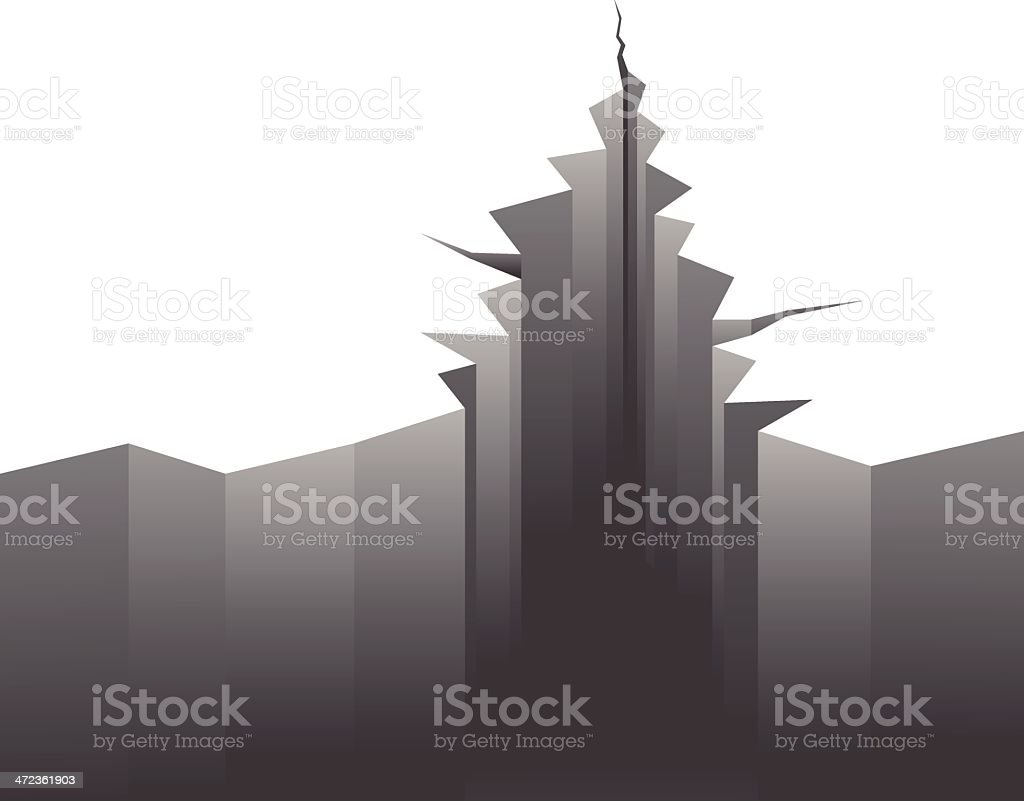 Illustration of cracked ground due to earthquake royalty-free stock vector art