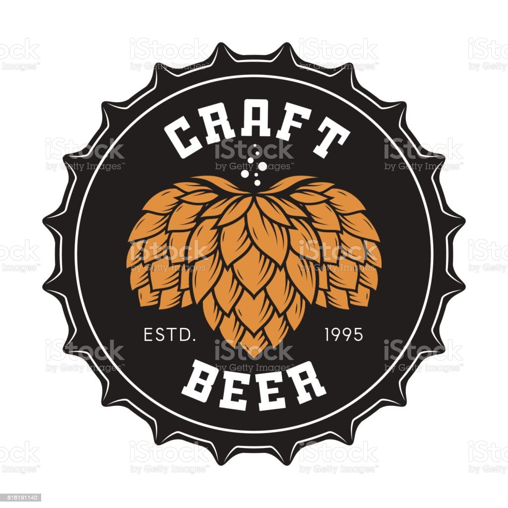 Illustration of craft beer bottle cap with hops