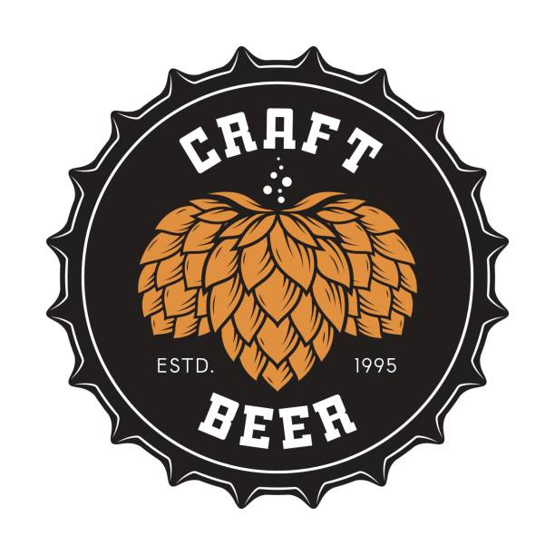 Illustration of craft beer bottle cap with hops vector art illustration