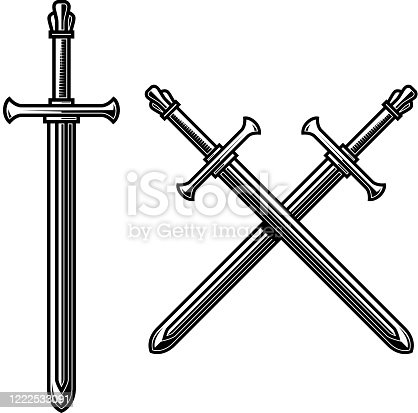 Illustration of crossed knight swords in engraving style. Design element for label, emblem, sign. Vector illustration