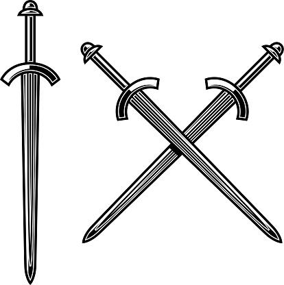 Illustration of crossed knight swords in engraving style. Design element for label, emblem, sign. Vector illustration