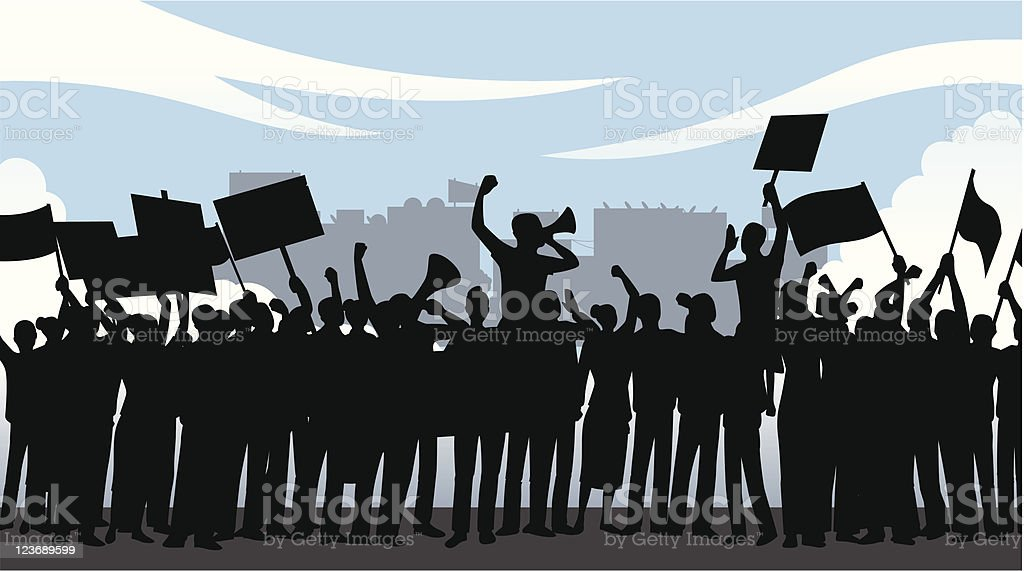 Illustration of crowd of people holding a demonstration vector art illustration
