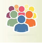 Illustration of crowd of people - icon silhouettes vector. Socia