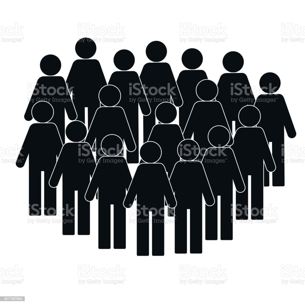 Illustration Of Crowd Of People Icon Silhouettes Vector ...