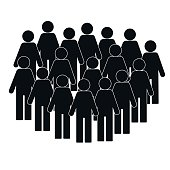 Illustration of crowd of people - icon silhouettes vector. Social icon. Modern design flat style icon