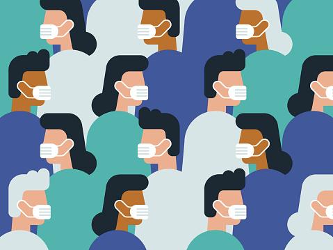 Illustration of crowd wearing medical masks