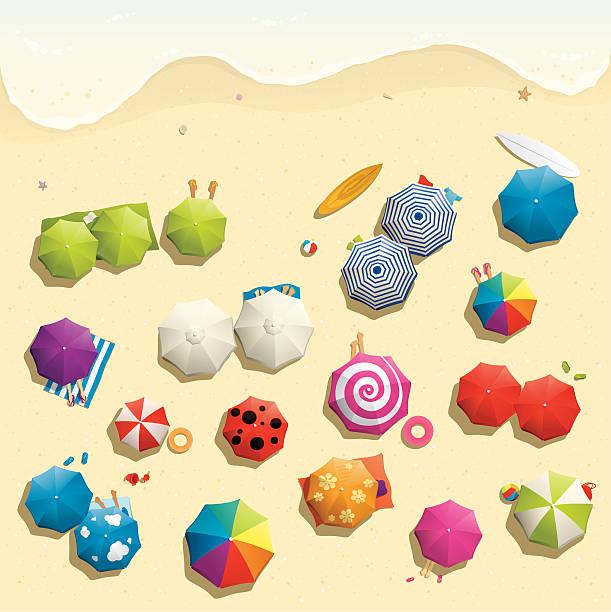 Illustration of crowded beach in summer vector art illustration