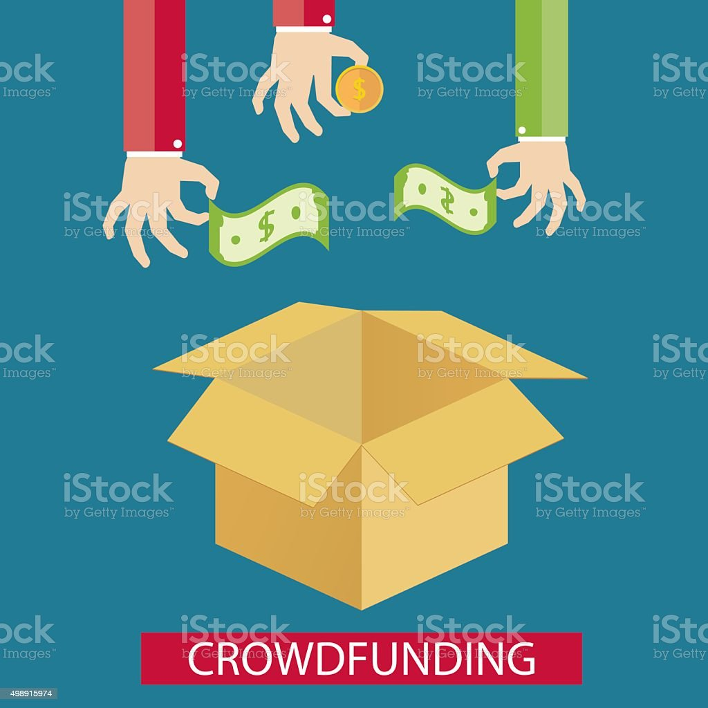 illustration of crowdfunding service new business idea stock vector