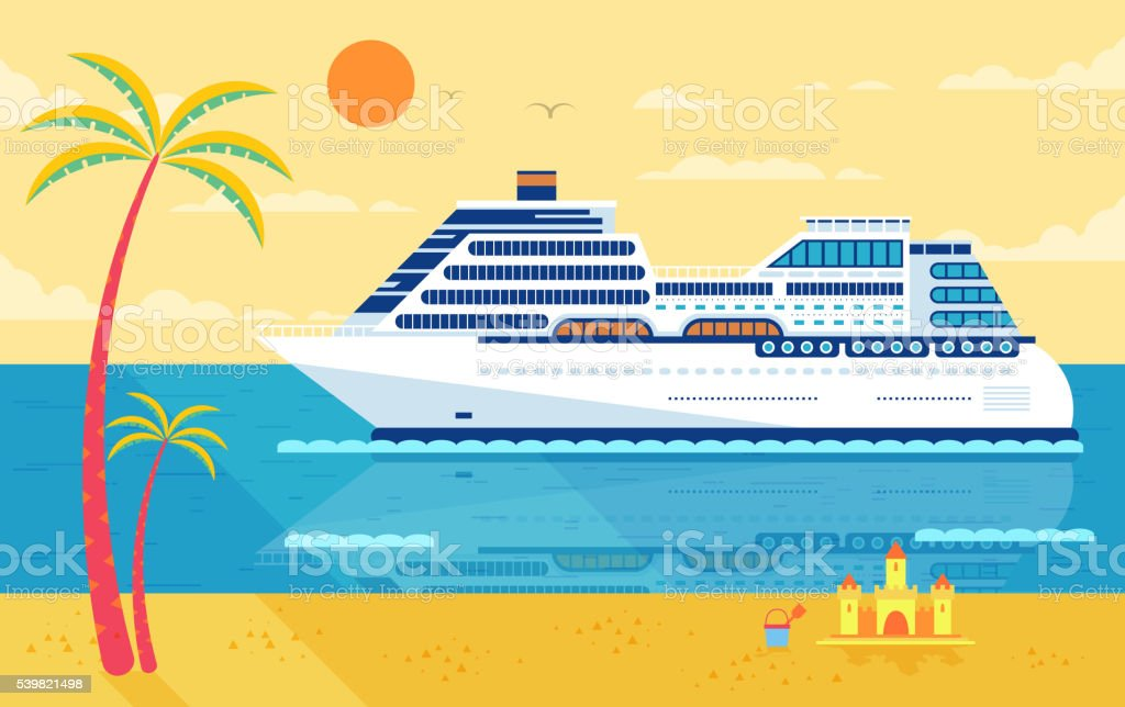 illustration of cruise ship isolated, side view, near beach, palm vector art illustration