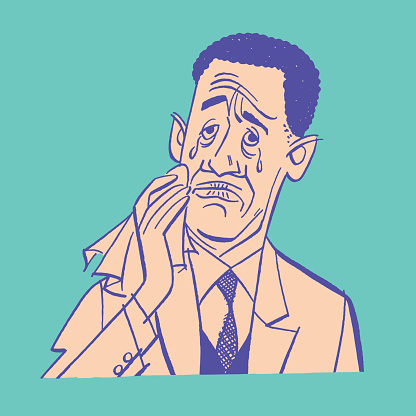 Illustration of crying man