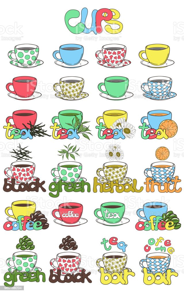 Illustration of cups for tea and coffee with different ingredients. Use for menu tea and coffee bars. Vector illustration drawn by freehand. illustration of cups for tea and coffee with different ingredients use for menu tea and coffee bars vector illustration drawn by freehand - stockowe grafiki wektorowe i więcej obrazów bar - lokal gastronomiczny royalty-free
