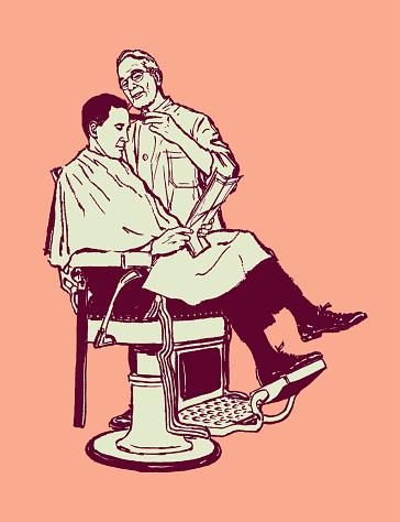 Illustration of customer receiving haircut at barber shop