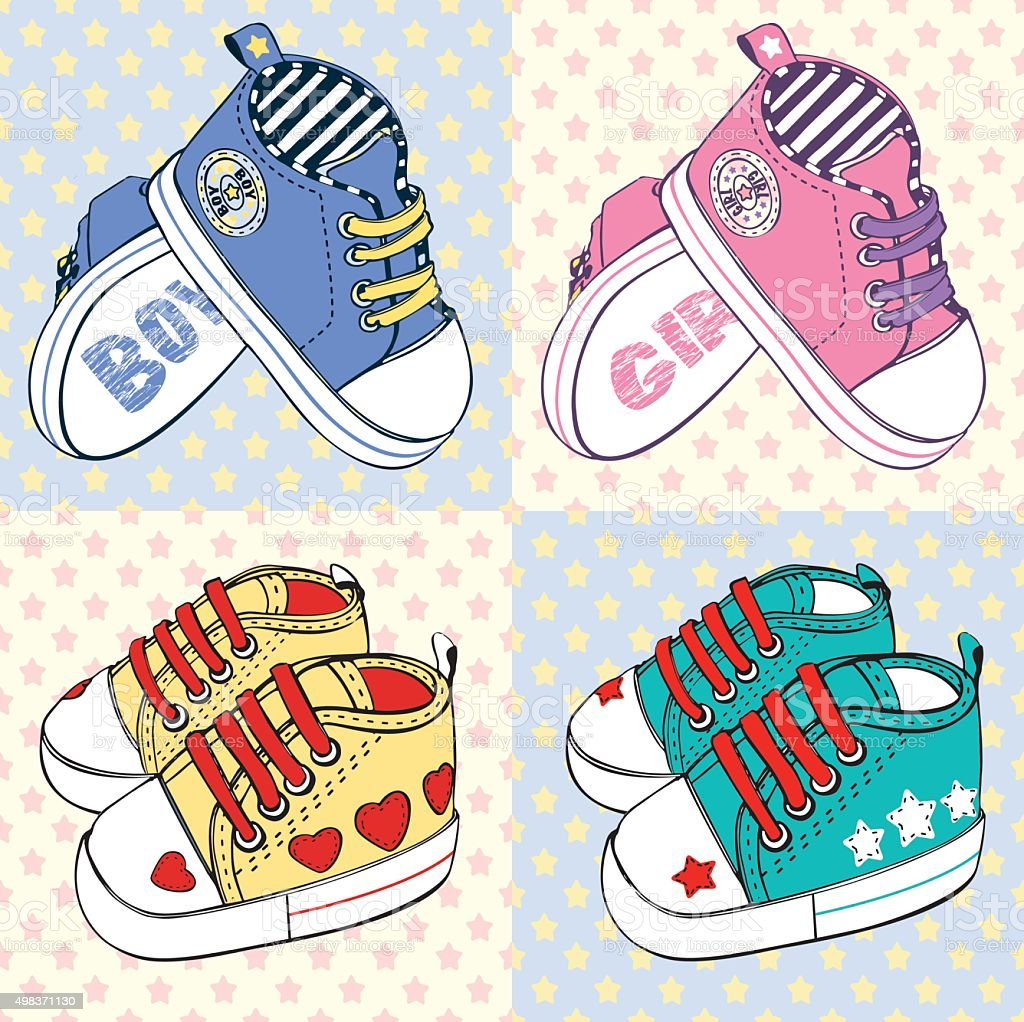 Illustration of cute baby's sneakers vector art illustration