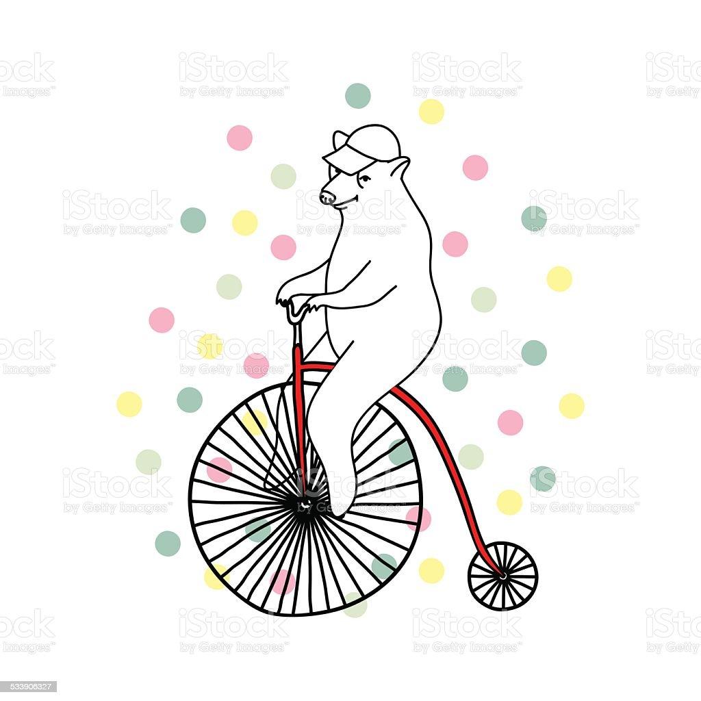 イラストレーションのかわいいベア乗馬昔風の自転車 2015年のベクター