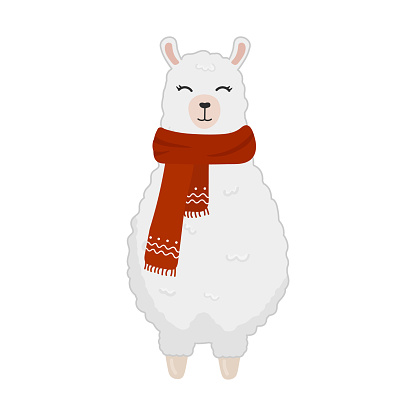 Illustration of cute cartoon alpaca in a scarf isolated on white background. Print for t-shirts, posters, greeting cards, stickers, design and more. Cartoon llama