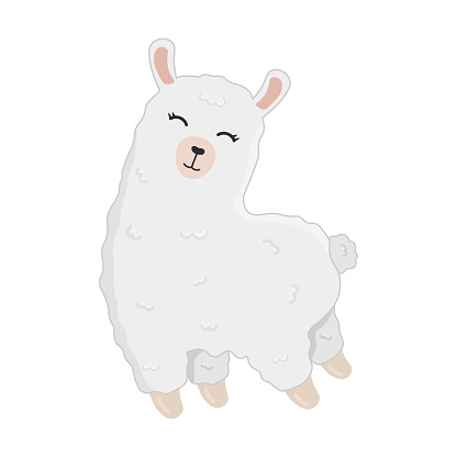 Illustration of cute cartoon alpaca isolated on white background. Print for t-shirts, posters, greeting cards, stickers, design and more. Cartoon llama