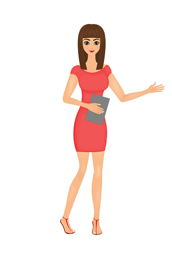 illustration of cute cartoon business woman in a red dress with a folder
