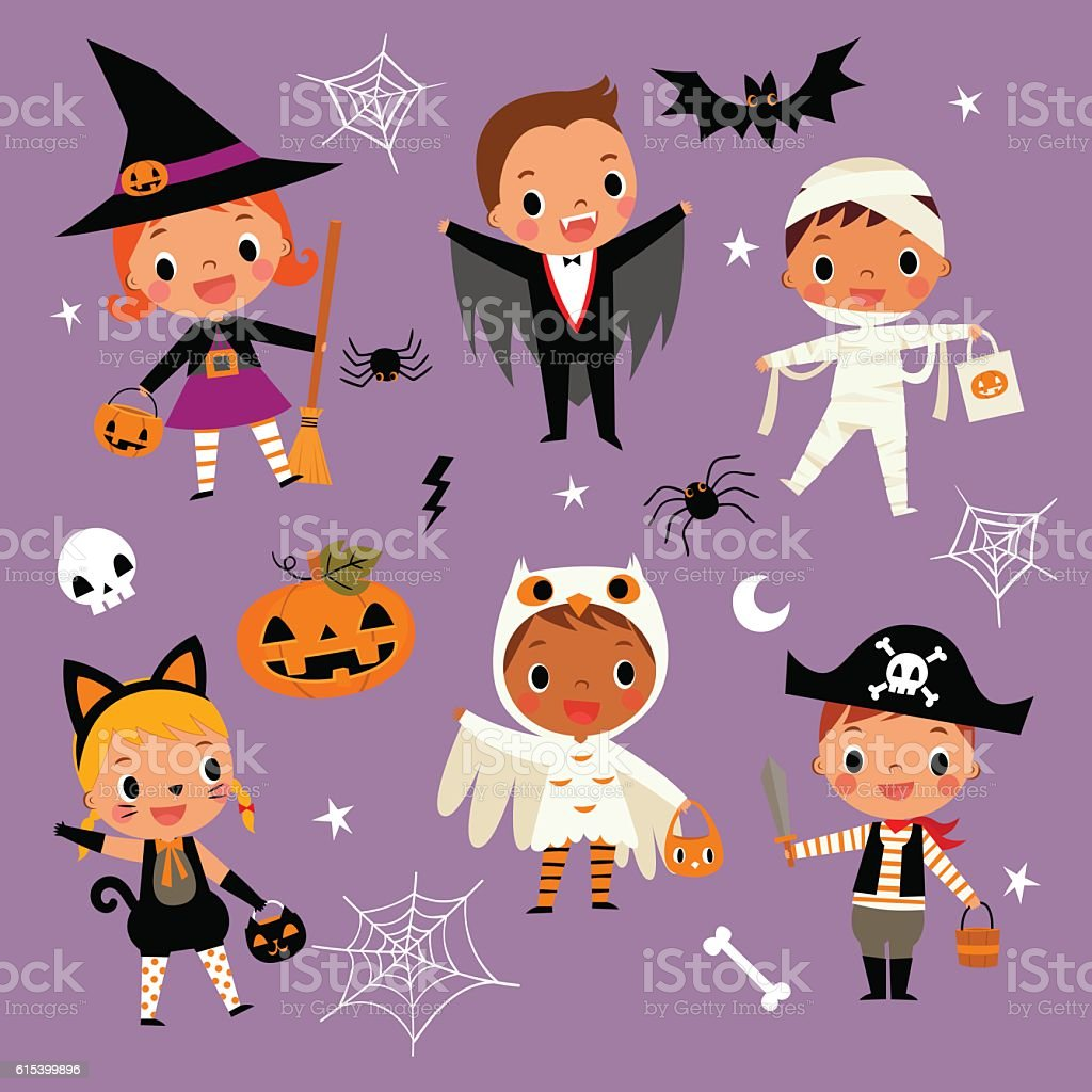 illustration of cute cartoon children in colorful Halloween costumes. vector art illustration