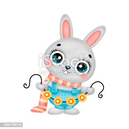 istock Illustration of cute cartoon christmas bunny wearing scarf with garland lights isolated on white background 1305798124